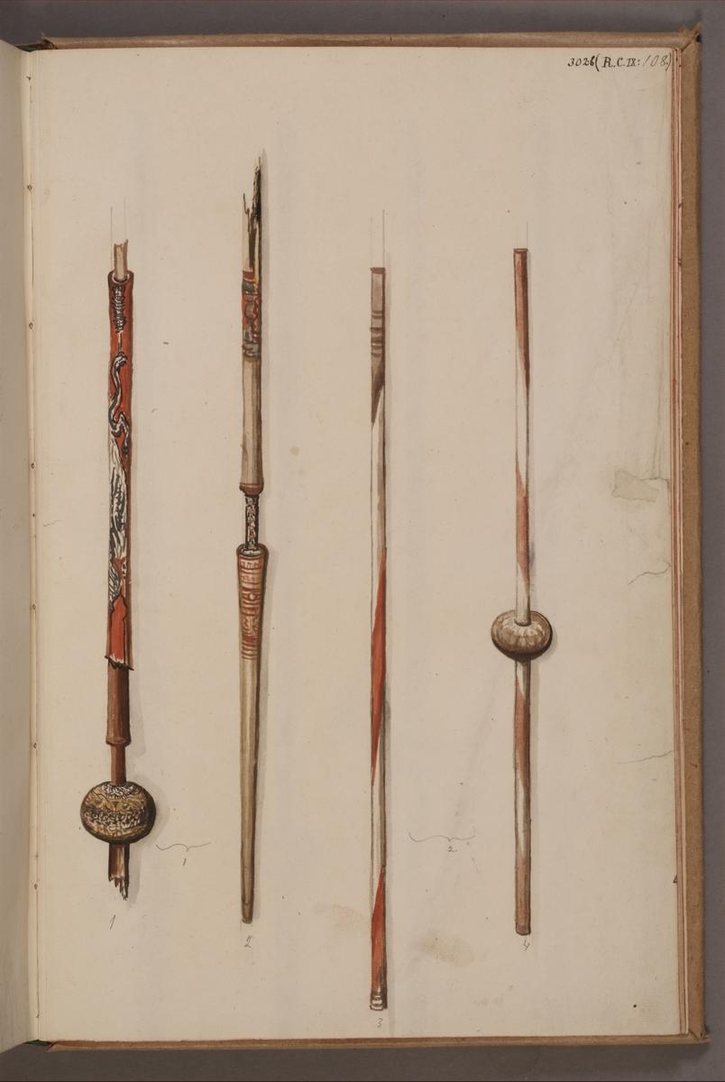 Avbildning i gouache föreställande stänger tagna som troféer av svenska armén. De avbildade stängerna finns inte bevarade i Armémuseums samling.