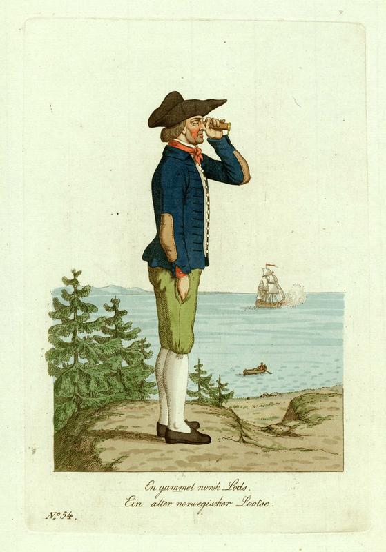 «En gammel norsk Lods» i kobberstikk av sveitseren Johann Heinrich Senn (1770– ca.1830) etter maleren J.F. L. Dreiers (1775– 1833) akvarell.