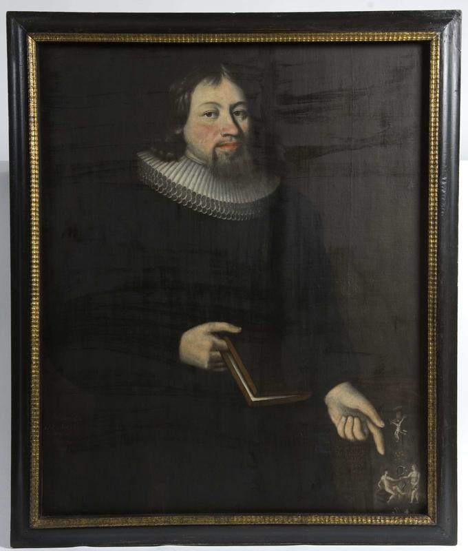 Presten Even Romedal (1661–1705)  peker på syndefallet med Adam og Eva – og slangen. Ukjent maler, datert 1693.