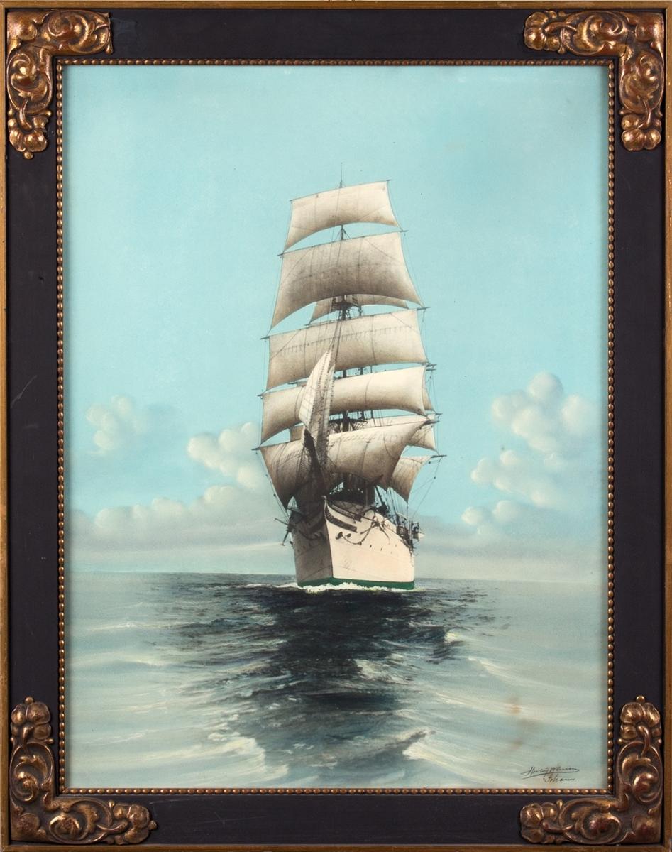 Bark STATSRAAD LEHMKUHL, sett fra baug, for fulle segl på åpent hav.