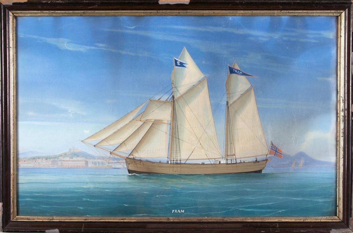 Skipsportrett av galeas FRAM, muligens utenfor Napoli med Vesuvs helt til høyre i motivet.