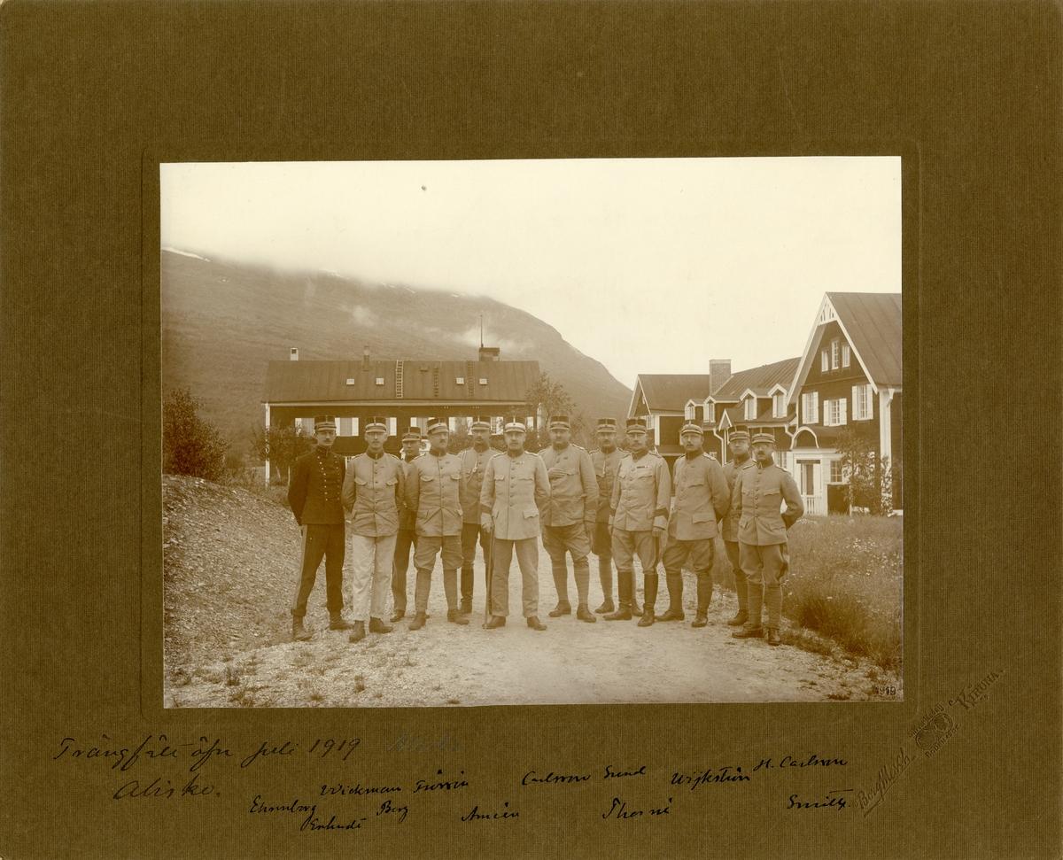 Trängtrupperna på trängfältövning i Abisko, juli 1919. För namn, se bild nr. 2.