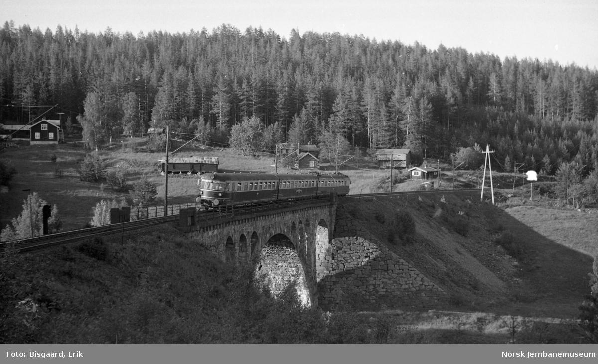 Utfluktstog for Norsk Jernbaneklubb med motorvognsett type 66 på Hengselva viadukt