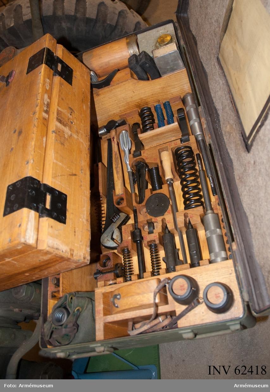 Grupp F I. Verktyg i låda till 10,5 cm luftvärnskanon m/1942, nr 36. Samhörande är kanon, reservdelar i låda, verktyg i låda, nattbelysning i låda, lavettlåda med kikare och kvadrant.