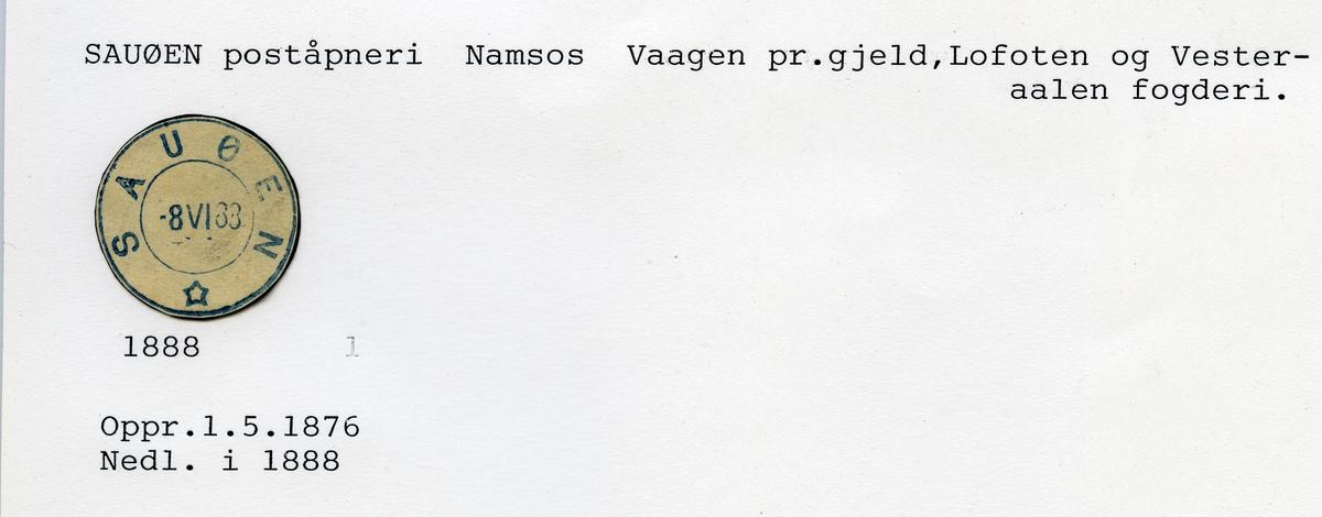Stempelkatalog  Sauøen, Namsos kommune, Nord-Trøndelag