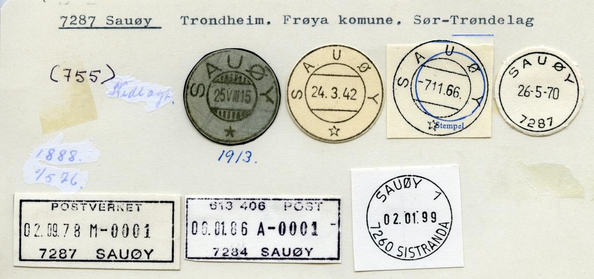 Stempelkatalog  7287 Sauøy, Frøya kommune, Sør-Trøndelag