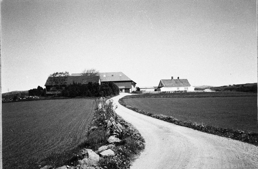 Auglend gnr. 10, bnr.1. Bilete er teke i mai 1997. Jærhuset er nå rive. Jonny Topdal (12.6.1963 - ) frå Topdal i Ogna (Hå) fekk skøyte 1995