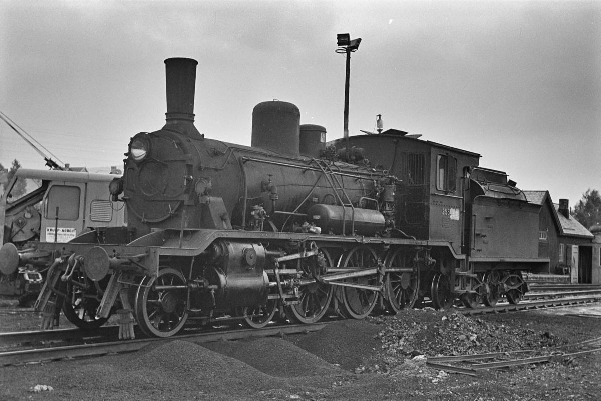 Damplokomotiv type 18c nr. 255 ved lokomotivstallen på Grong stasjon.