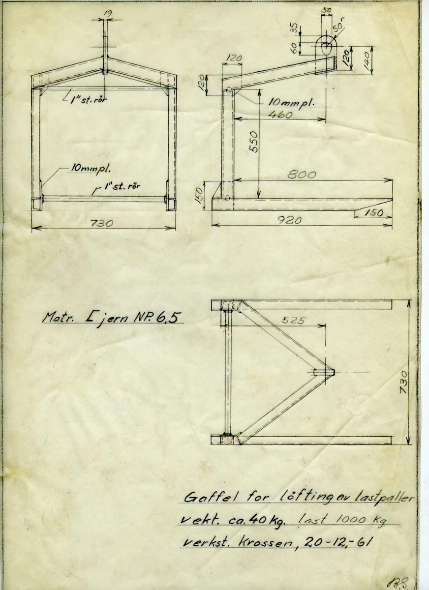Håndtegnet arbeidstegning for lastegaffel for paller, utarbeidet på Krossen 20.12.1961