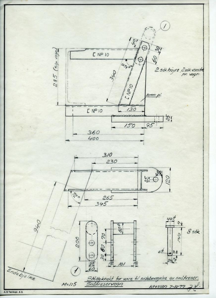 Håndtegnet arbeidstegning for støtteknekt for wire til sidebevegelser av snøfreser. Utarbeidet Krossen 7.10.1977.
