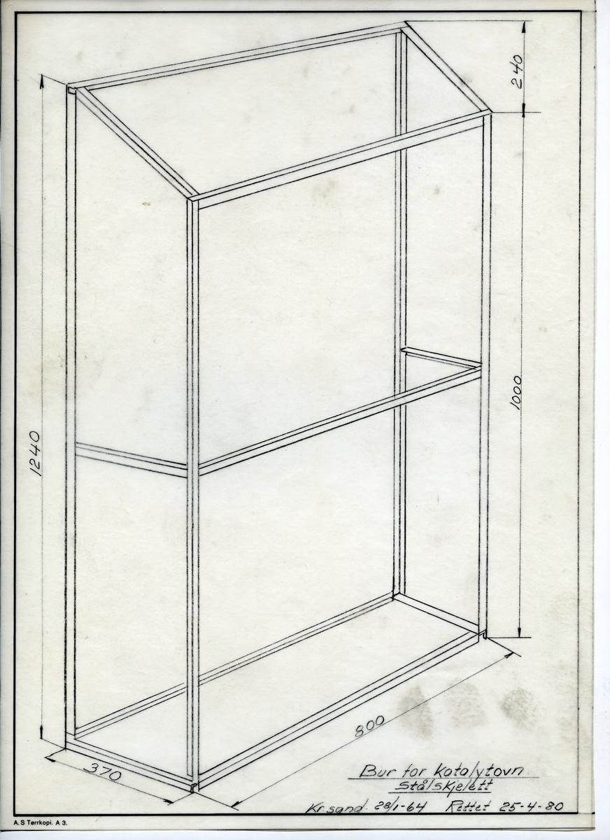 Håndtegnet arbeidstegning til bur for katalytovn, stålskjelett. Utarbeidet på Krossen 1964 - rettet i 1980.