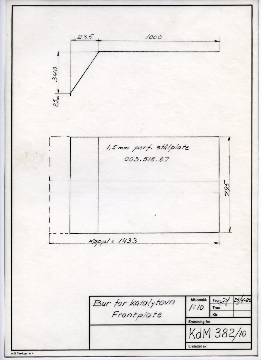 Håndtegnet arbeidstegning til frontplate til bur for katalytovn, Utarbeidet på Krossen i 1980.Tegningsnummer KdM 382/10