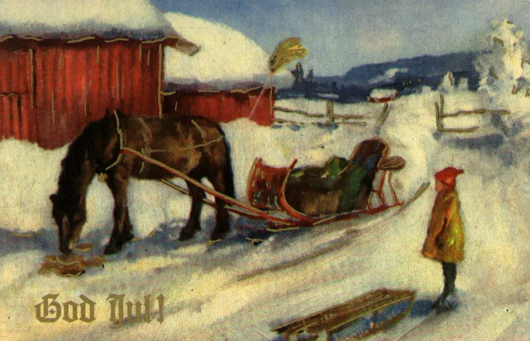 Julekort. Ubrukt. Vintermotiv. Hest og slede på gårdstun.