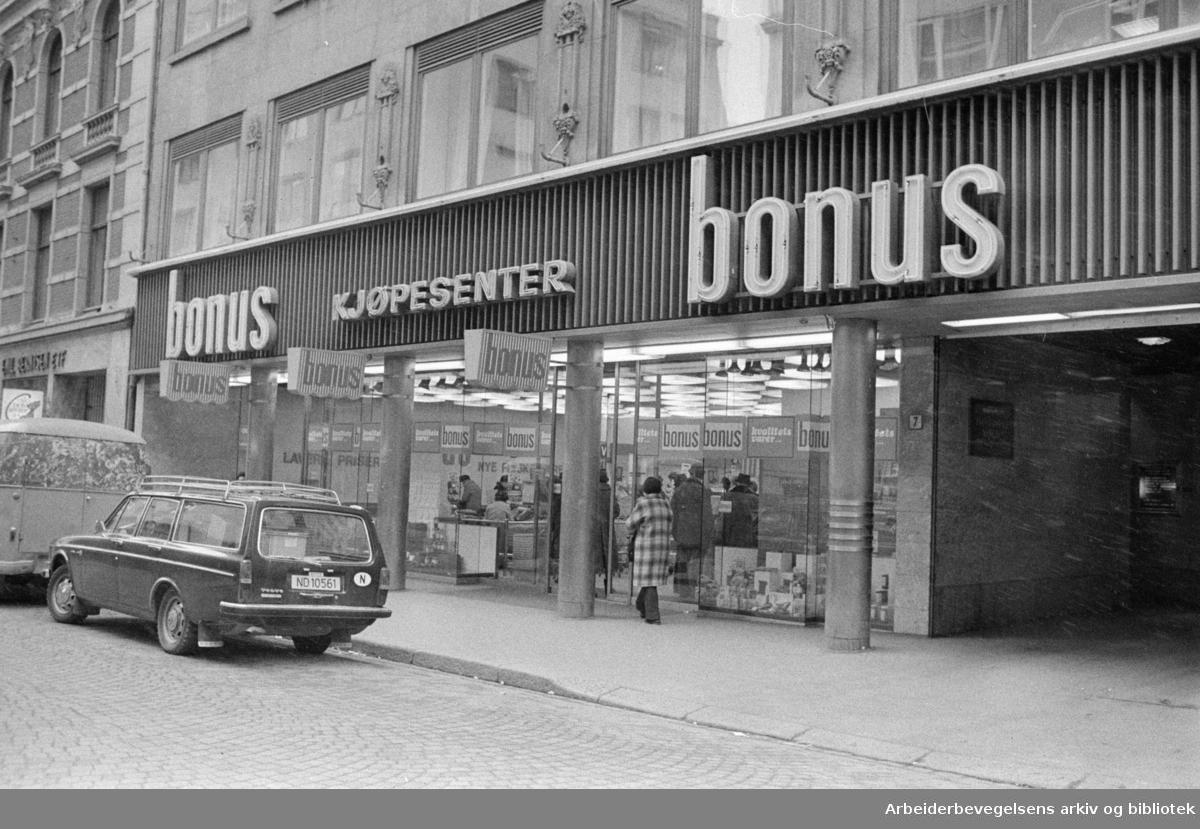 Torggata. Bonus kjøpesenter. Mars 1974