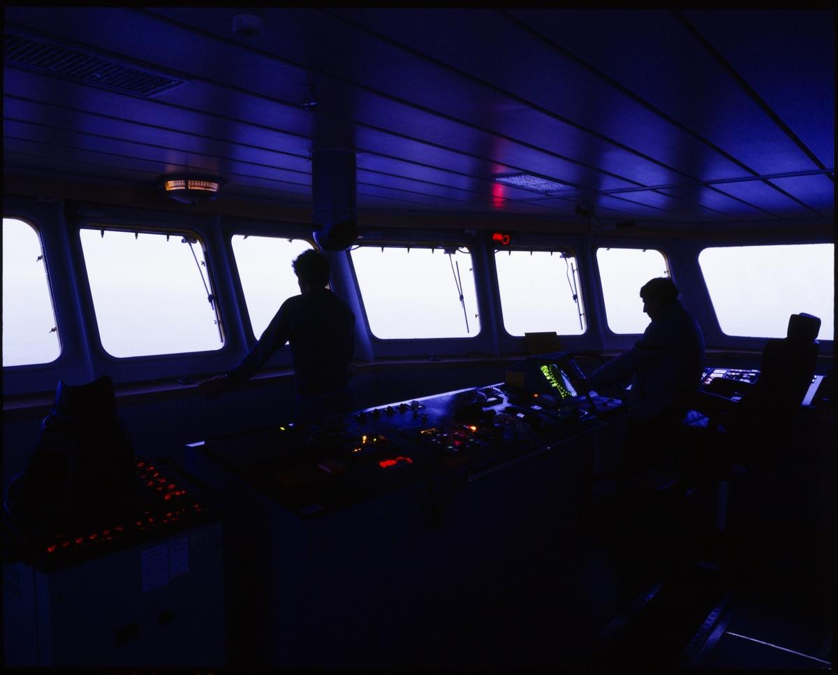 """Fra innsiden av skipsbroa på Østensjø rederis """"Edda Fram"""", og skipet ved indre kai i Haugesund."""