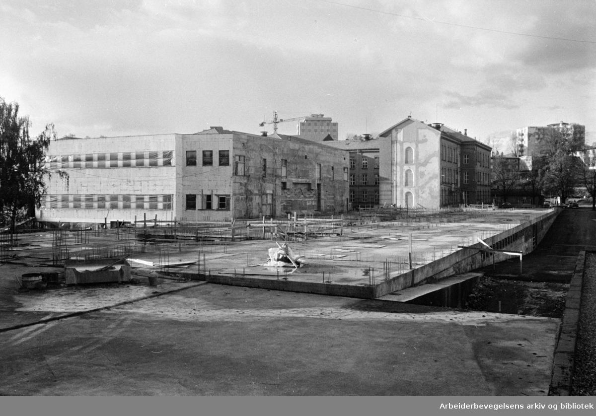 Ullevål sykehus. Byggearbeidet har hvilt siden 1. mai. Oktober 1964