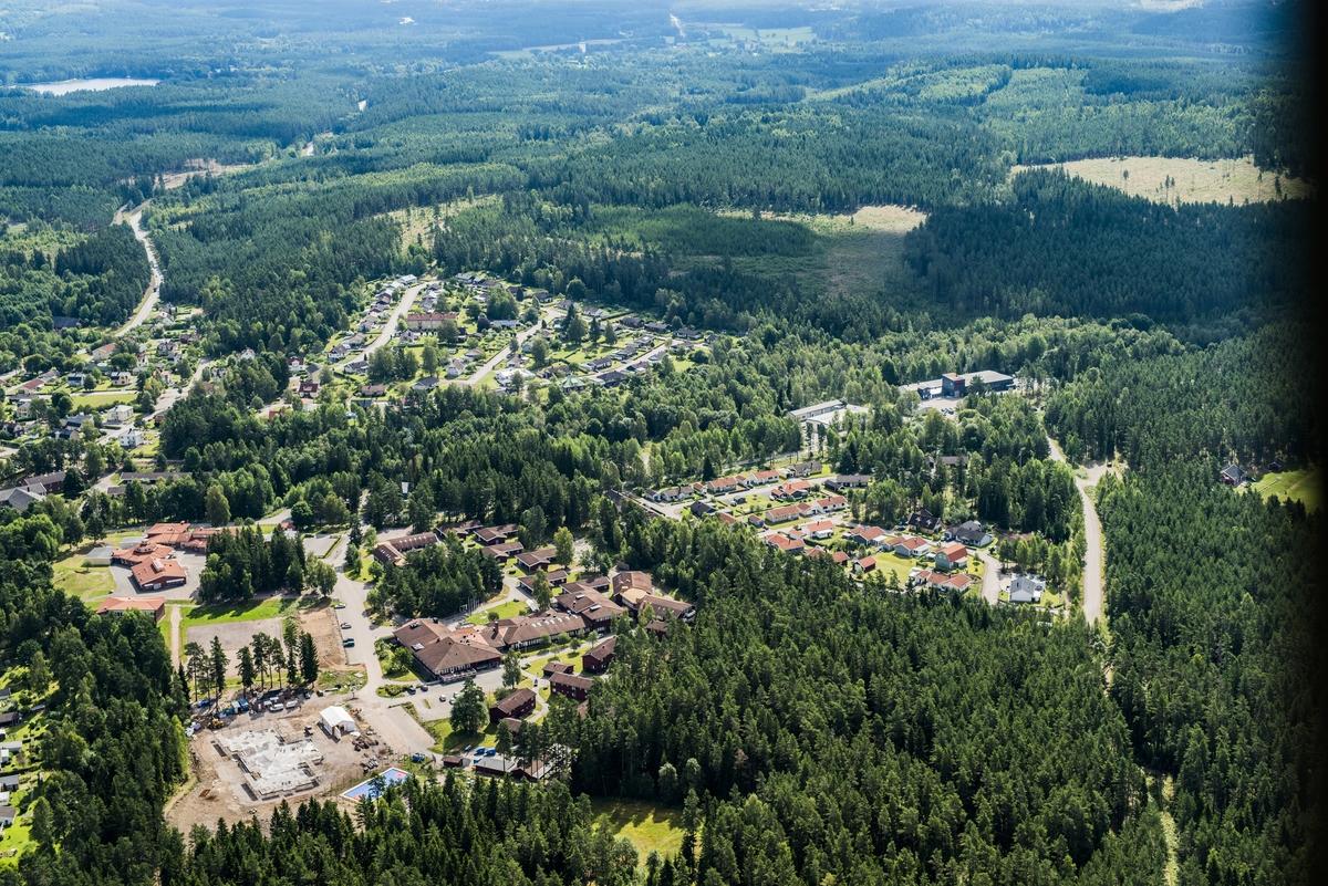 Flygfoto över Holsbybrunn i Vetlanda kommun.