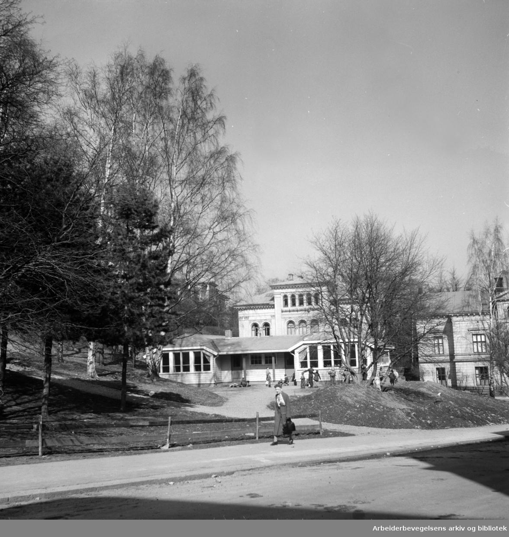 Uranienborgparken med barnehus. April 1955