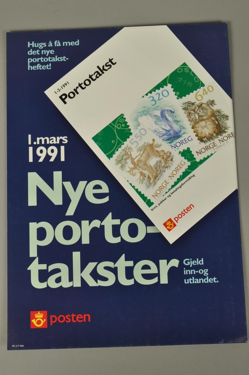 Informasjonsplakat fra Posten: Nye portotakster fra 1.3.1991. Bokmål og nynorsk.