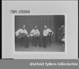 Trio  med gitar, mandolin og  munnspill. Fra venstre: Per Wulvig - gitar, Thomas Jørgensen - munnspill, Edgar Johansen - mandolin.