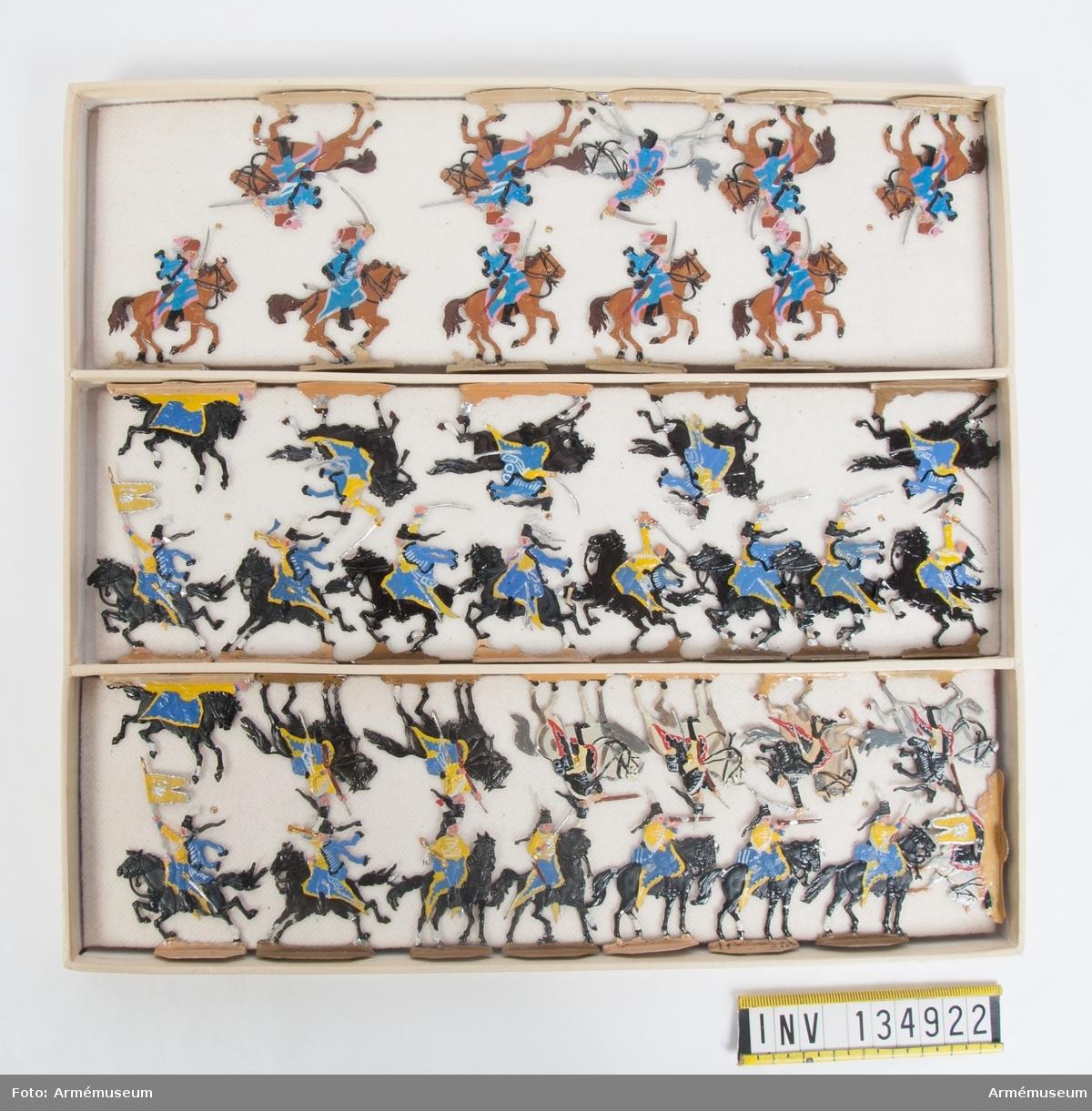 Husarer från Preussen från sjuåriga kriget. En låda med kavalleri i strid. Fabriksmålade.