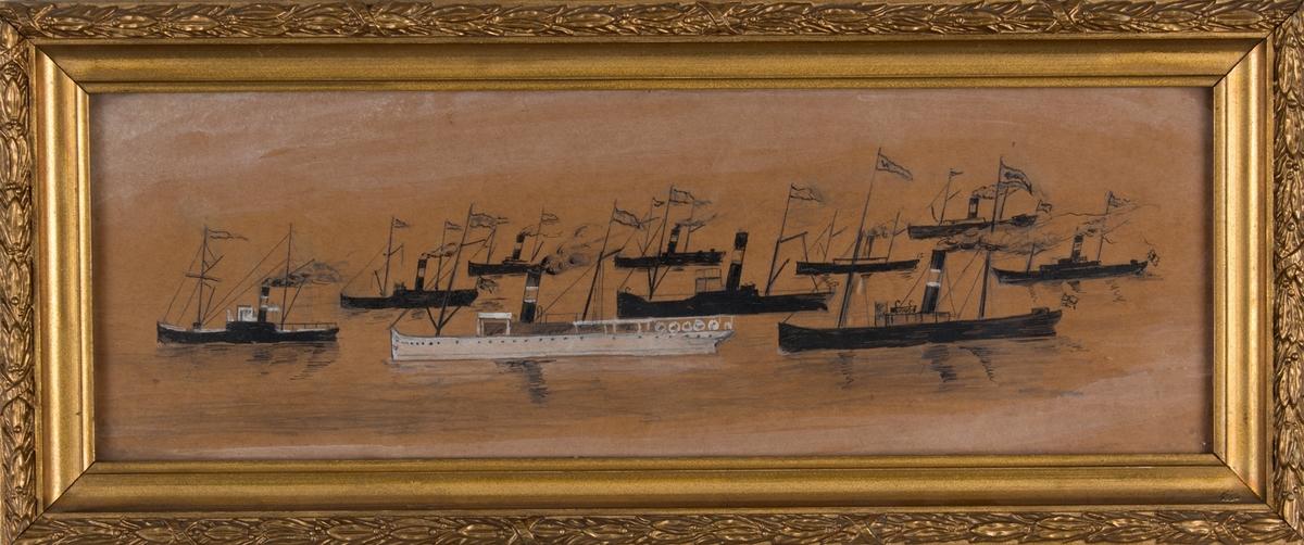 Flerskipsbilde av dampskip tilh. Vesteraalens Dampskibsselskab under fart. Til sammen ni skip med sort skrog og ett skip med hvitt skrog.
