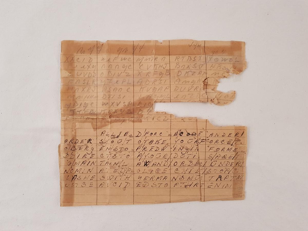 Kodet telegram sendt til Harald Risnes fra London i forbindelse med freden. I telegrammet beordres Bjørn West-soldatene til Bergen.