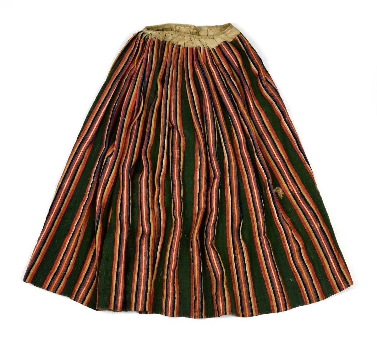 Yllekjol med röda, gula, blå, svarta och vita ränder på grön botten.