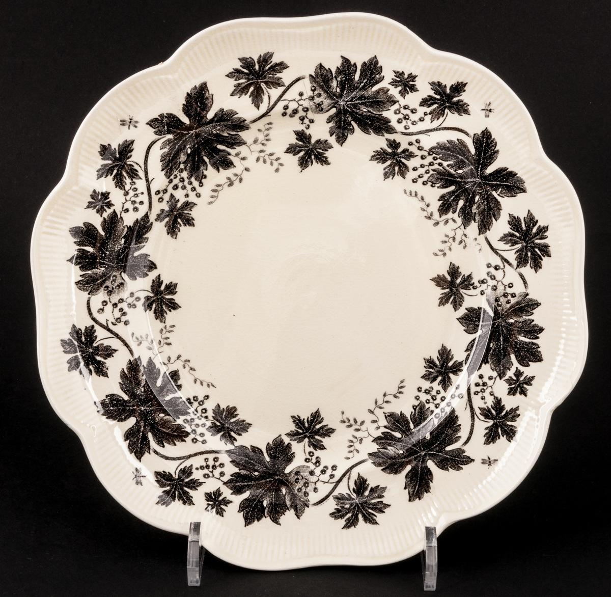 Tallrik, Vinranka, modell AO, vit med svart dekor.