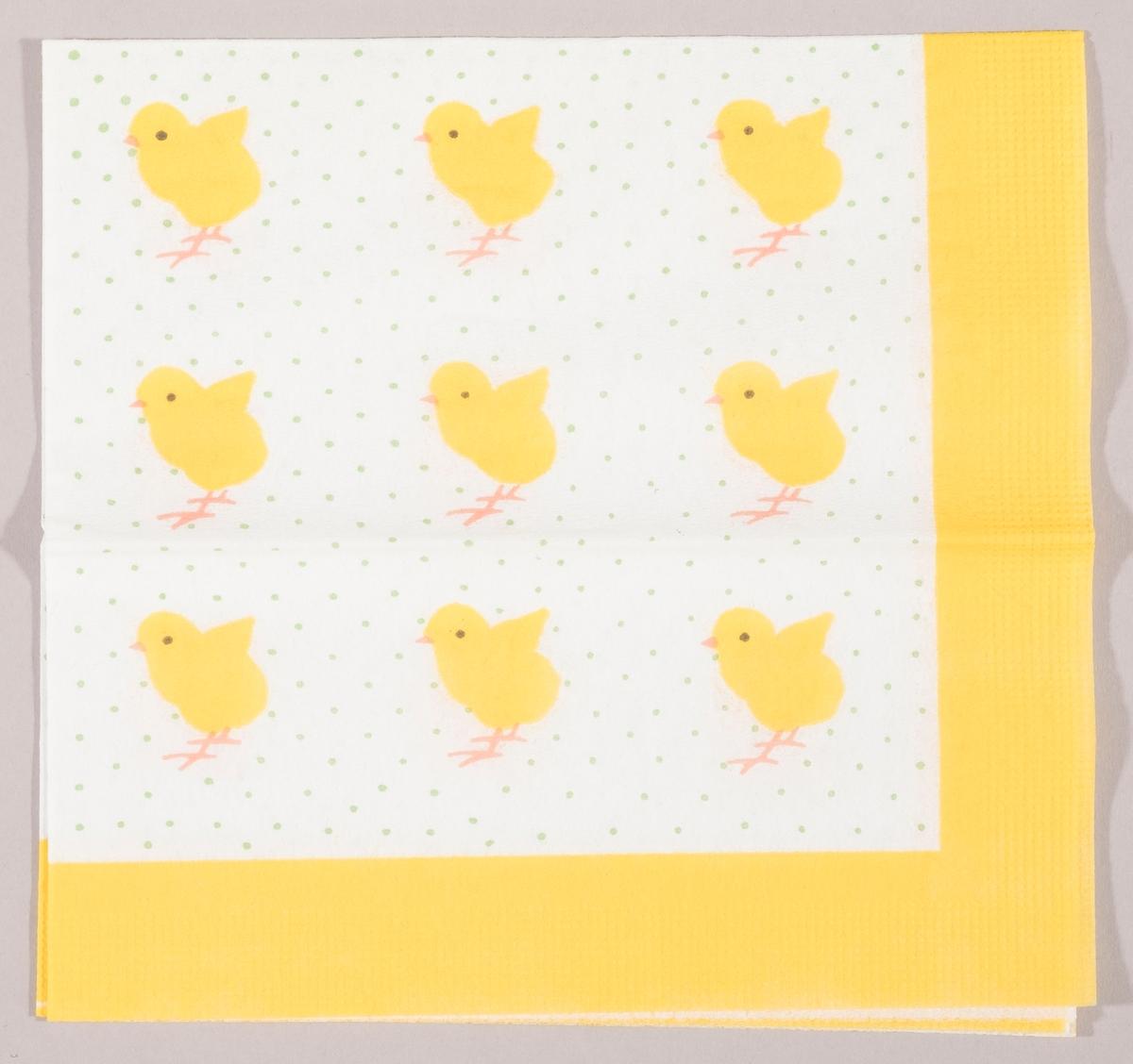 Kyllinger plassert i et firkantmønster på en hvit bakgrunn med grønne prikker. Gul kant.