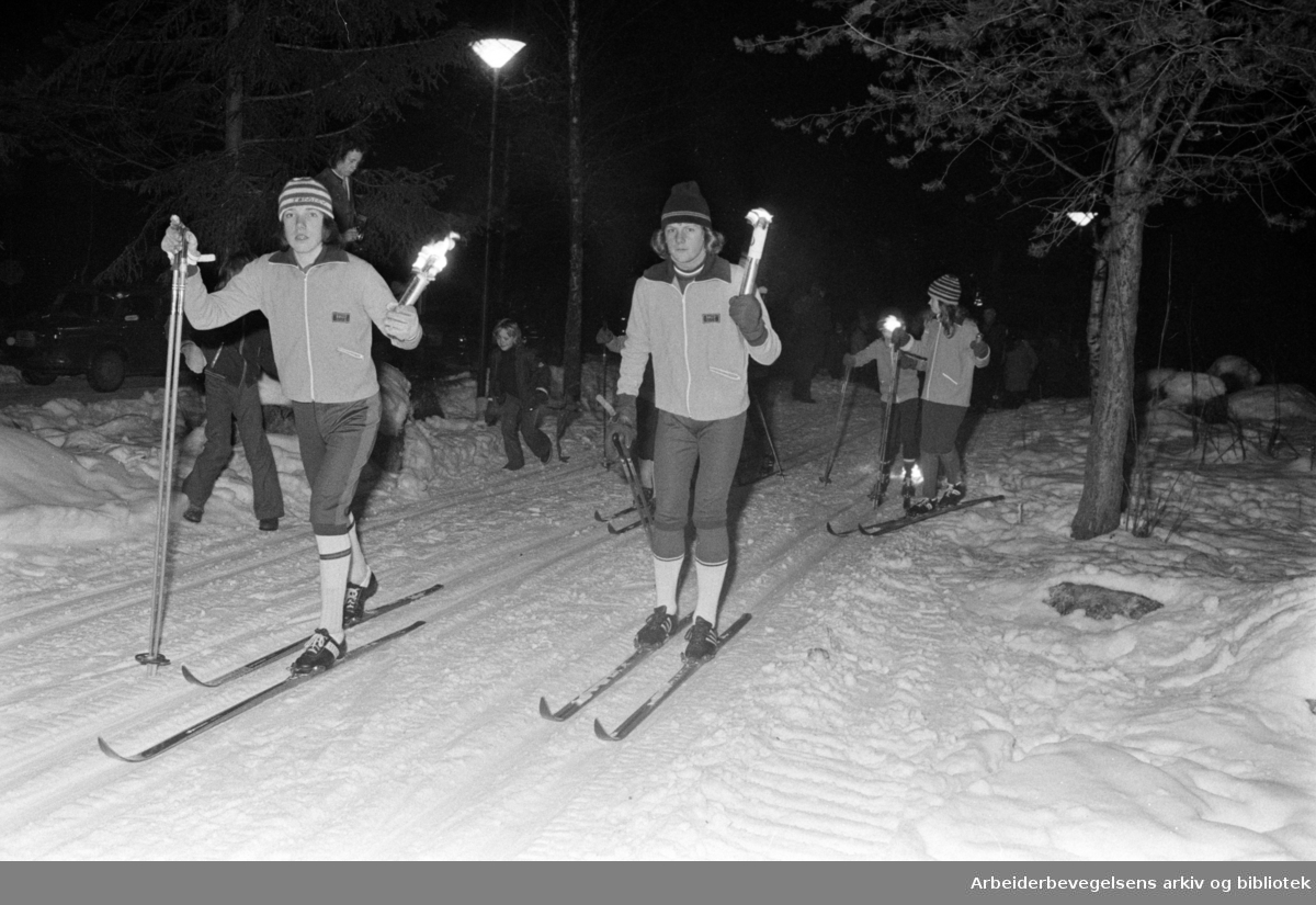 Østmarka: Lysløyper. Ny lysløype beregnet for funksjonshemmede. Februar 1975