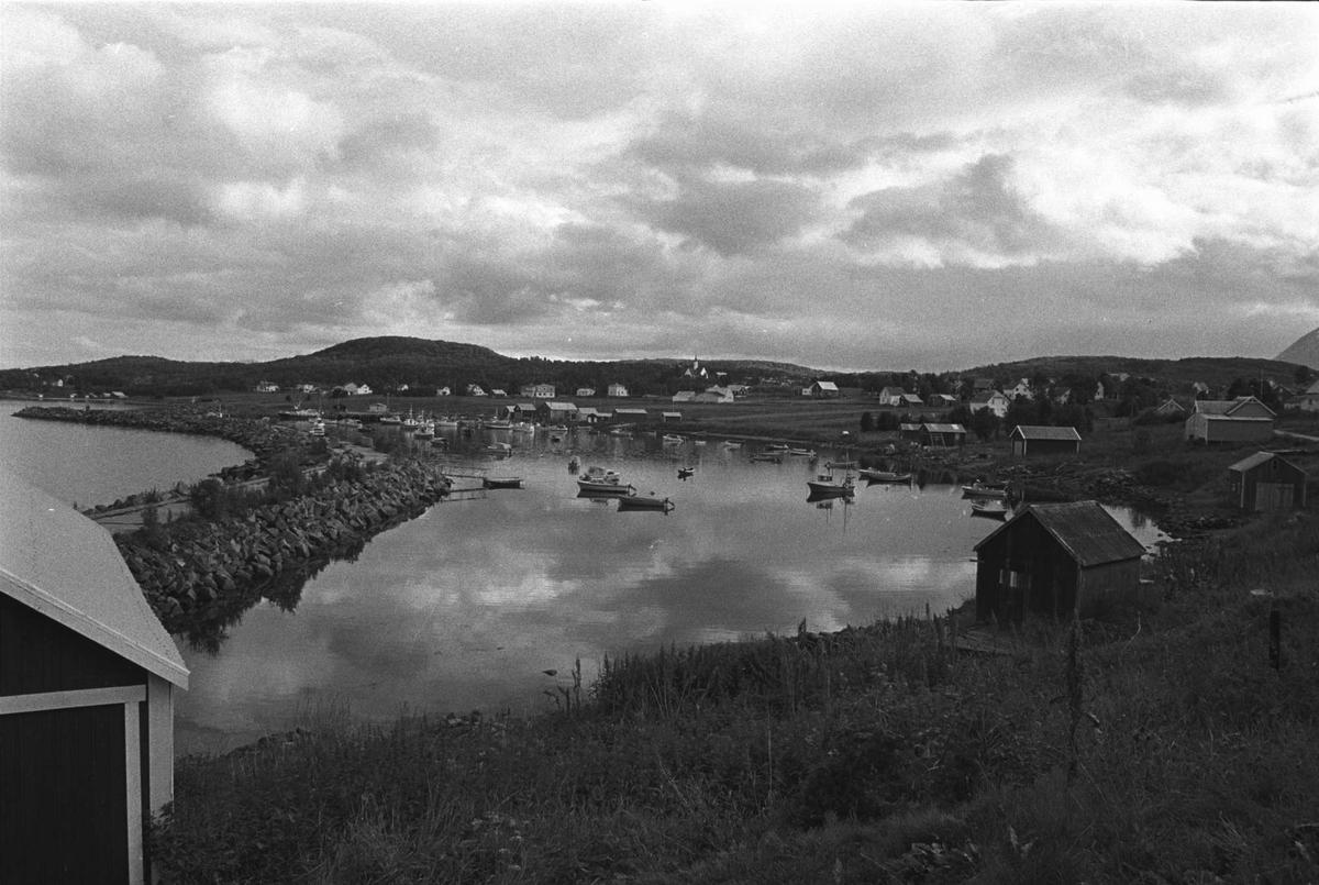 Bebyggelse og landskap rundt Nergårdshamn. Molo til venstre.