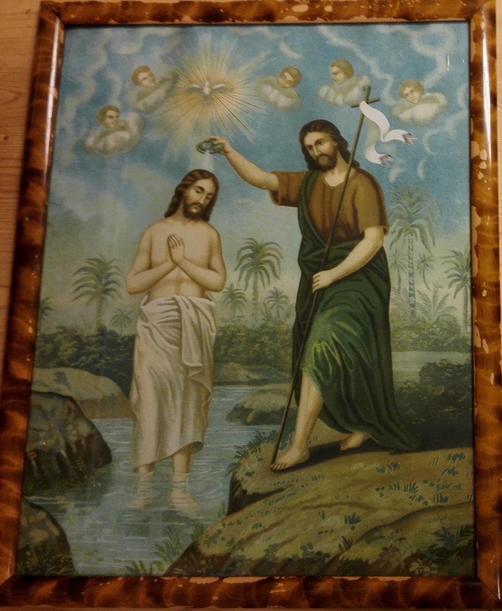 Johannes døyper Jesus.Englar i bakgrunn.
