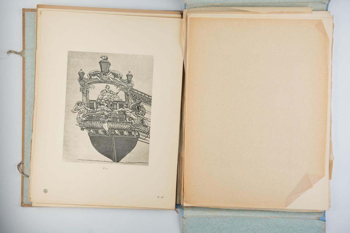 Mappe med 56 plansjer av seilskip og utsmykninger av skip fra 1600-tallet