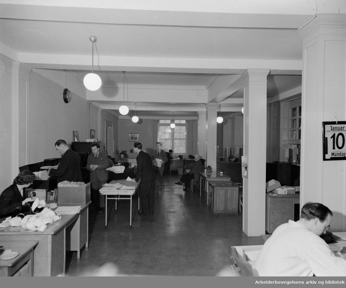 Losse og Lastekontor (gamle Logen). Interiører. Januar 1949