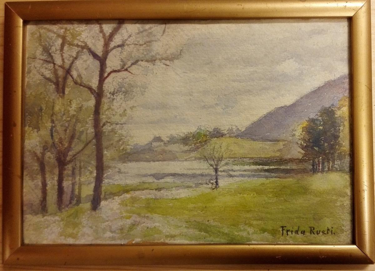 Akvarell/landskapsmotiv.