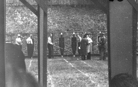Modern Femkamp, duellskjutning. A 6 pistolskjutningsbana.