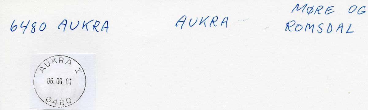 Stempelkatalog, 6420 Aukra. Molde. Aukra. Møre og Romsdal.