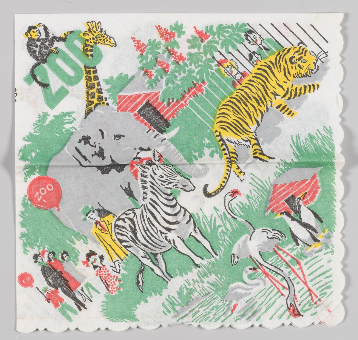 En scene fra en dyrehage med publikum og ape, giraff, elefant, sebra, tiger, pingviner, svane og flamingoer.