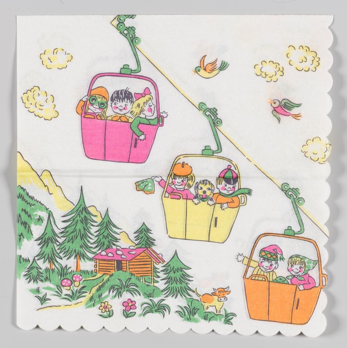 En gondolbane med tre gondoler med smilende barn. Fjell med et laftet hus, grantrær og blomster. Hvite skyer og fugler.