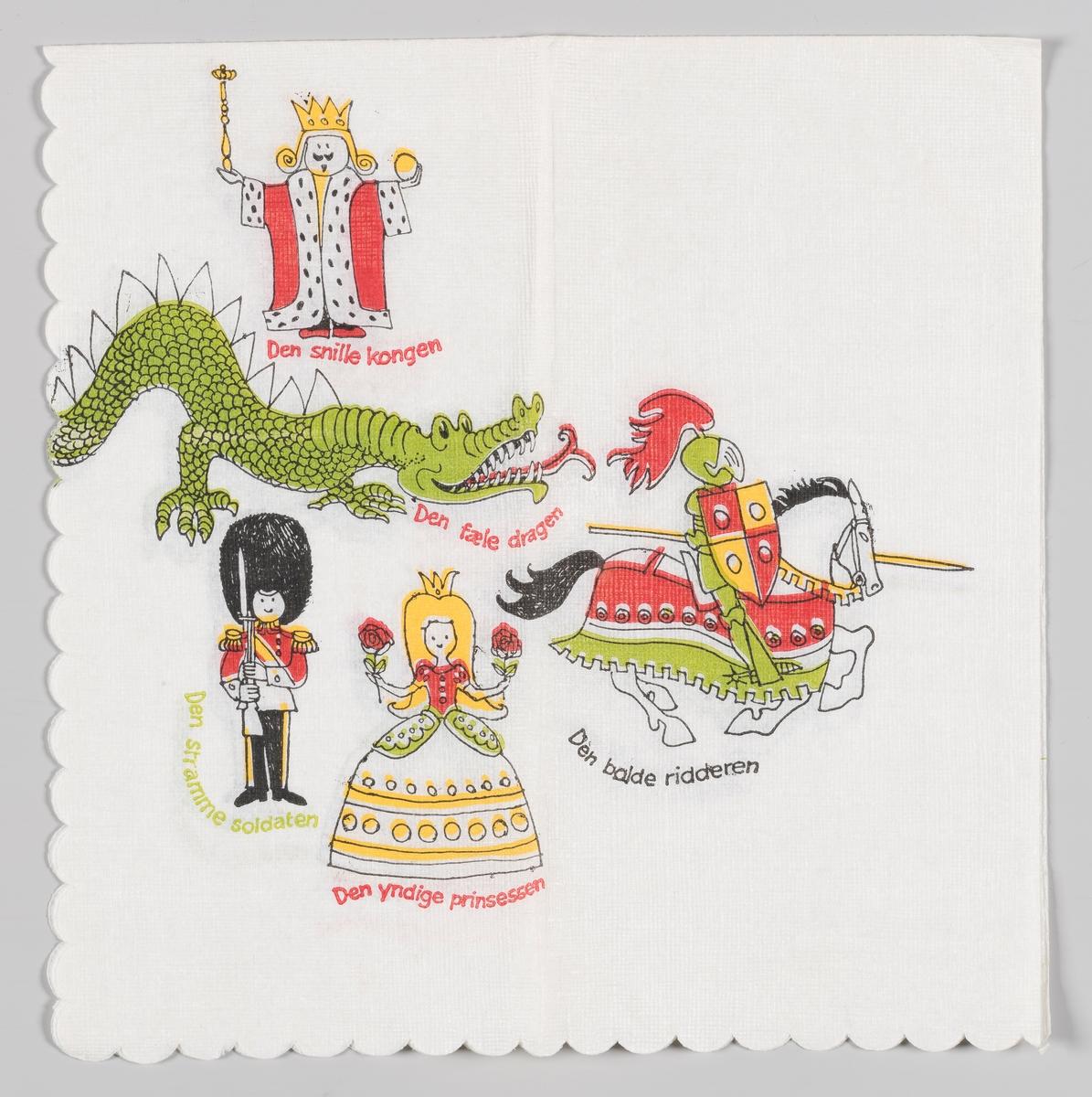 En konge, en drake, en soldat, en prinsesse og en ridder på hest.