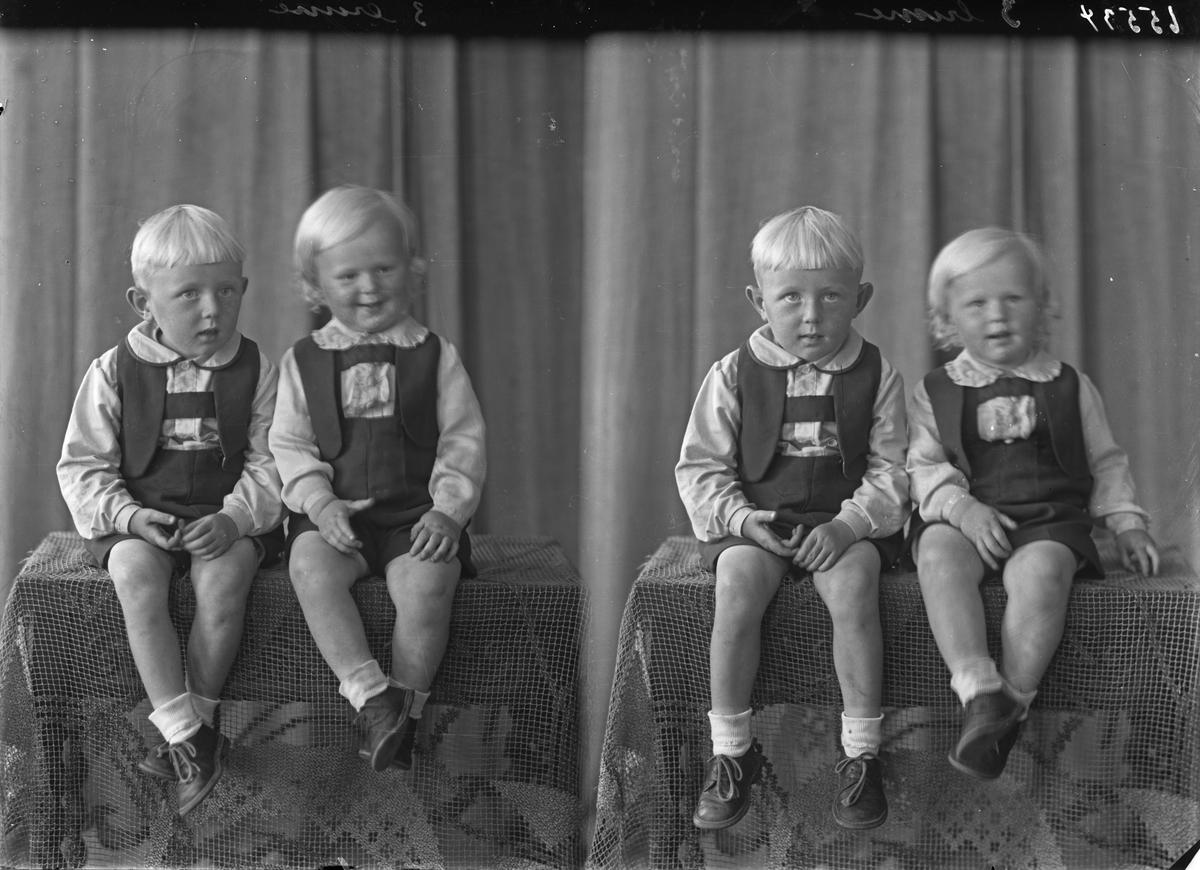Portrett. Gruppe på to. Unge gutter. Brødre.  Bestilt av Ludvik Pedersen. Aakrahavn