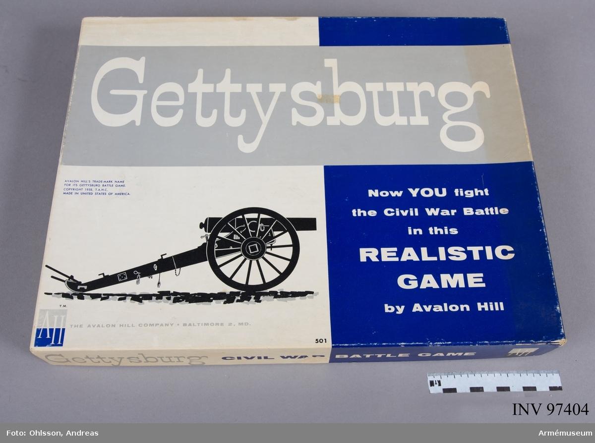 Spelet består av en spelplan i kartong föreställande en karta över landskapet omkring Gettysburg, samt ett 80-tal spelmarkeringar i papp, en tärning och ett tiotal tabeller, spelkort och instruktioner.