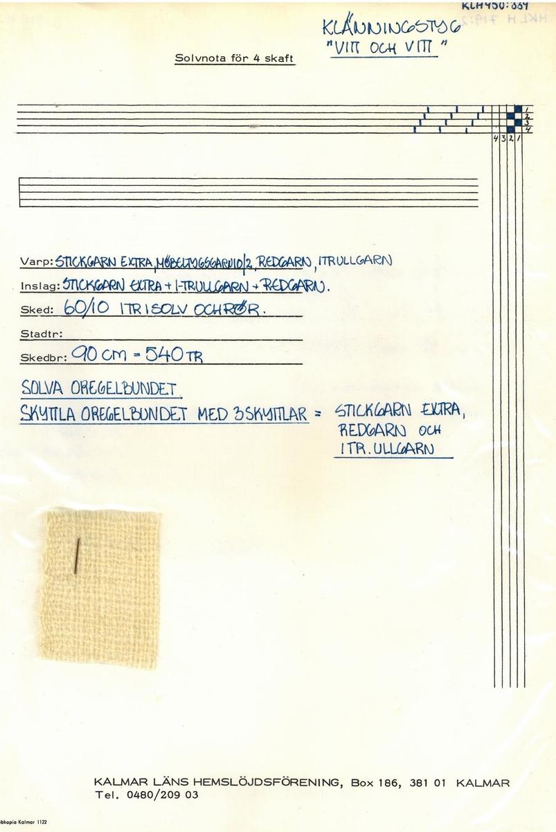 """Klänningstyg """"Vitt i vitt Formgivare: Kerstin Butler"""