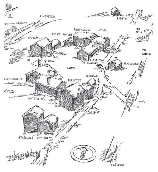 Skisse av tunet på Nordre Husan, tegnet av arkitekt Arne Berg i 1943. Like nord for eldhuset (bryggerhuset) står et nyere brønnhus.. Foto/Photo