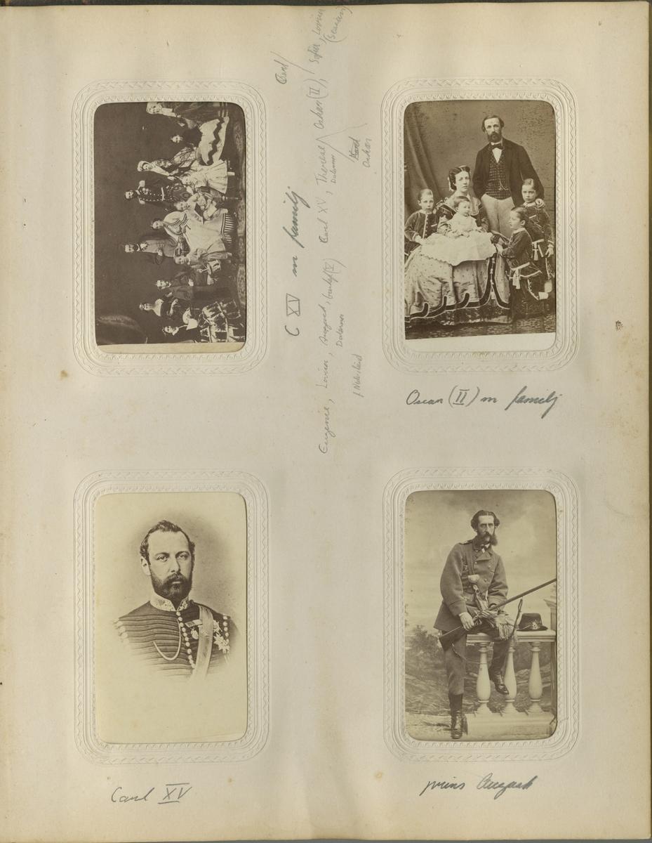 Karl XV och Oscar II med familjer. Fotomontage.