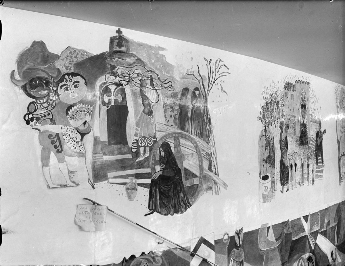 Väggmålning av konstnären Sven X:et Erixson i Uppsala stadsteaters foajé, Kungsgatan, Uppsala 1952