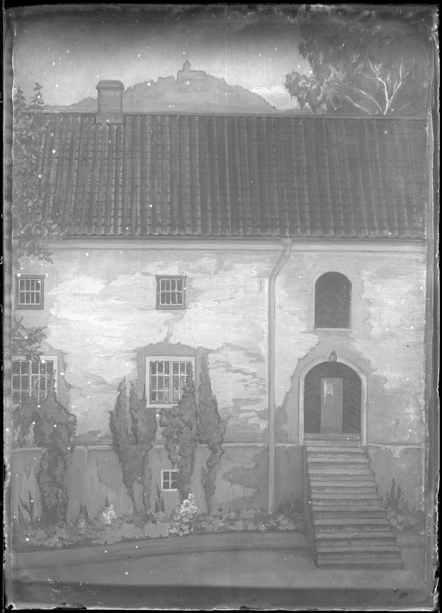 Reprofotografi av målning föreställande Alingsås museum. Målningen är gjord av Gerda Palm och det är även hon som beställt reprofotot.