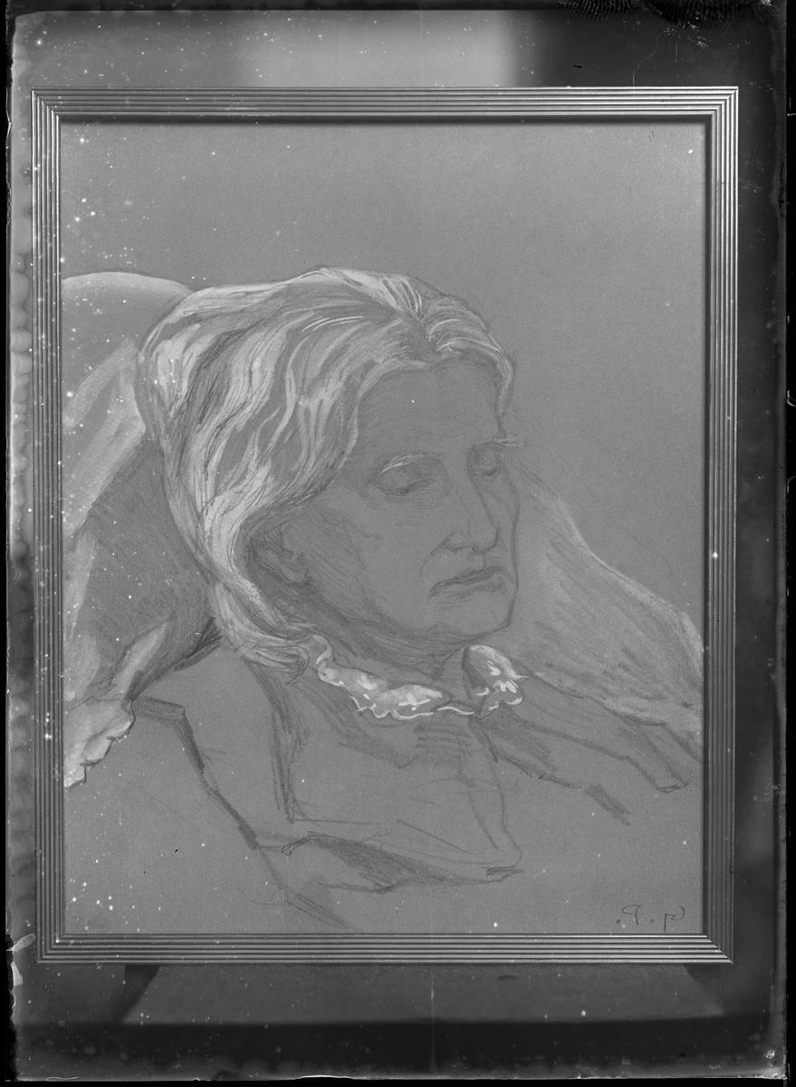 Reprofotografi av ett målat porträtt. Målningen är gjord av Gerda Palm och det är även hon som beställt reprofotot.