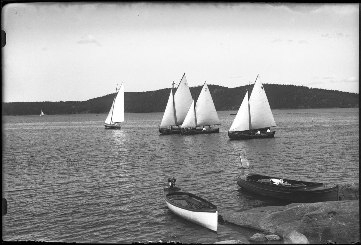 """Fem segelbåtar ute på sjön, varav den ena är långt bort. I förgrunden ligger två båtar utan segel vid klipporna. I fotografens egna anteckningar står det """"Kappsegling""""."""